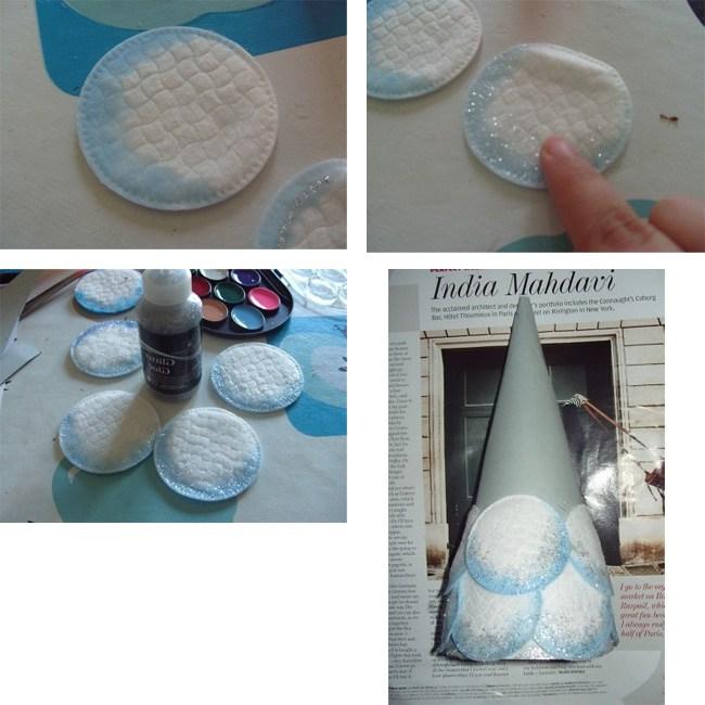 Как сделать елочку из ватных дисков своими руками